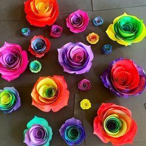 Handmade hand painted paper roses tie dye